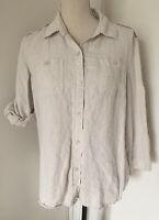Liz Claiborne Sz L Womens 100% Linen Natural Beige Button Down Shirt Tab Sleeve
