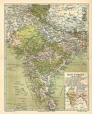 Alte historische Landkarte 1890: Ost-Indien mit politischer Übersicht  (M4)