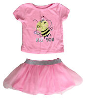Garanimals Baby Girl 3-6M T-shirt Tutu Set Pink Bee Silver Short Sleeve Bloomer