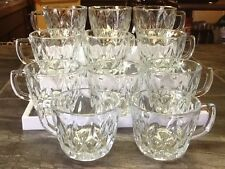 Polished Clear Crystal Diamond Pattern Glass Punch Bowl Cups