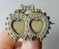 Antique Good luck Heart Double Horseshoe Marriage Sweetheart Brooch