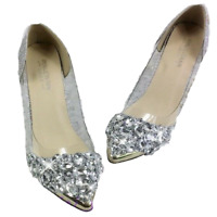 Womens Shining Bling Rhinestone Wedding Pointy Toe Mid Heels Pump Party Shoes SZ