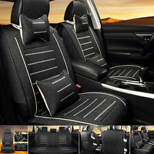 Black Linen Fabric Breathable Car Seat Cover Front+Rear Seat Protector +Pillows
