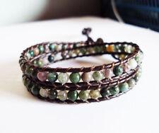 agate stone leather 2 wrap bracelet,women bracelet,size 12-15''handmade