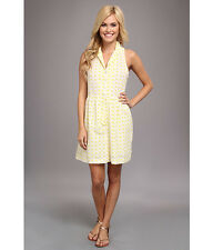 ANGIE Women's Solid Eyelet Yellow Dress Floral 100% COTTON Size L