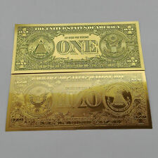 New 1pcs Usd 1 dollar Gold Foil shining Golden Paper Money Banknotes Crafts Fe