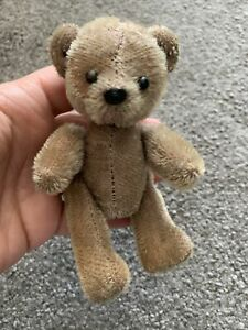 "Unique Vintage Miniature TRICKY Yes No Mohair Jointed Bear 5"" Germany ?  CUTE"