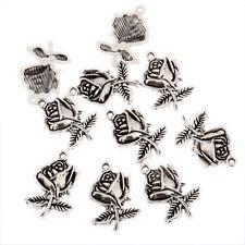 Rose single stem valentine Tibetan Silver bead charm Pendants fit bracelet 10pcs