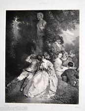LITHOGRAPHIE XIXè ANTOINE WATTEAU SCENE GALANTE gr. Bernard BARON impr. BERTAUTS