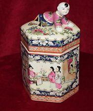 Vintage Chinese Hexagonal Porcelain Jar with Figural Lid, Hand Painted in Macau