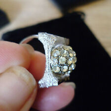 SILVER TONE DRESS RING WITH MOUND OF WHITE CRYSTAL ON TOP