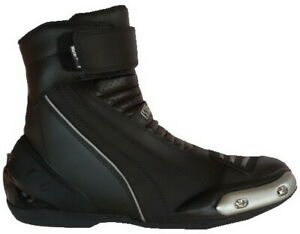 Scarpe stivaletti bassi da per moto con protezioni e sliders in di pelle nera