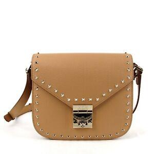 $1095 MCM Patricia Beige Leather Studded Crossbody Shoulder Bag MWS9APA17BC001