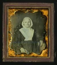 1850s Daguerreotype Elderly Woman Bonnet Striped Dress Letter, R.N. Keely, Phila