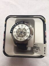 NWT Fossil Men's GRANT AUTOMATIC NAVY LEATHER WATCH List $175
