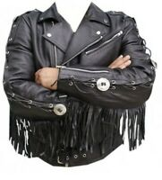 Men Western wear Brando Biker Style Black Leather Fringe Jacket Concho