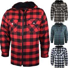 Mens Workwear Padded Quilted Lined Hoodie Jacket Lumberjack Work Casual Shirt