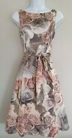 Womens Phase Eight Blush Pink Rose Floral Netted V Back 50s Vintage Style Dress8