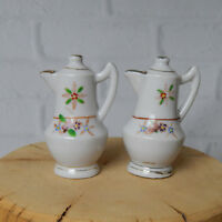 "Vintage Salt & Pepper Shakers Porcelain Tea Pots Floral Gold Trim 2.5"" Victorian"