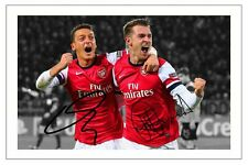 MESUT OZIL + AARON RAMSEY ARSENAL SIGNED AUTOGRAPH PHOTO PRINT SOCCER