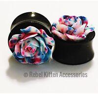 "14mm 9/16"" Pair Of White Blue Pink Tie Dye Rose Flower Flared Gauges"