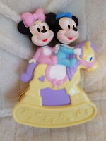 """Mickey Minnie Mouse Crib Musical Wind Up Toy Vintage Disney Arco 9.5"""""""