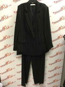 Marina Rinaldi Size 18 2 PC Black Striped Suit