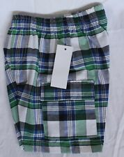 Boys Elastic Waist Cargo Plaid Shorts 12 Months New With Tags