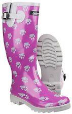 Cotswold Dog Paw Patterned Waterproof Womens Wellington Boots Wellies UK3-8