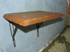 Antique Wooden Shelf with Iron Mounting Brackets