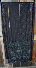ART TO WEAR HAND BEADED EVENING SHAWL SCARF WITH IRRIDESCENT BEADS ON BLACK!