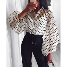 UK Women See-through Sheer Mesh Dot Blouse Puff Long Sleeve T-shirt Tops Shirts