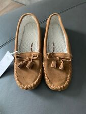 BNWT GORGEOUS TAN REAL SUEDE MOCCASIN SLIPPERS 8