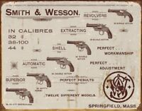 Smith & Wesson Tin Metal Sign : S&W Revolver Calibres , 16x12