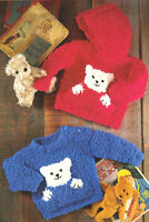"Baby Teddy Motif Sweater Pockets Hood 16 ~ 26"" Snowflake Chunky Knitting Pattern"