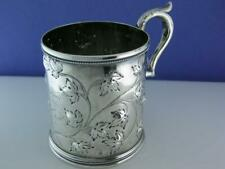 Early Coin Silver Cup / Mug - vine leaf pattern - Jimmie from his Grandmother