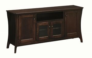 """Amish 60"""" TV Stand Entertainment Media Center Solid Wood Oak Maple New"""