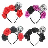 Adult Kids Halloween Wide Hair Hoop Rose Flower Skull Skeleton Head LED Headband
