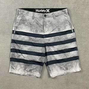 Hurley Men's Shorts Swim Trunks Size 32 100% Polyester Stripes Grey