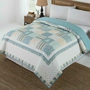 Twin Quilt Coverlet Coastal Christmas Reversible Patchwork Beach Cottage House