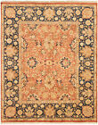 """Vintage Hand-Knotted Carpet 8'1"""" x 10'1"""" Traditional Geometric Wool Area Rug"""