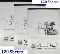 "3 High Quality Premium Sketch Book Drawing Paper Pad 120 Sheets 9"" x 12"""