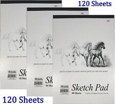 """3 High Quality Premium Sketch Book Drawing Paper Pad 120 Sheets 9"""" x 12"""""""