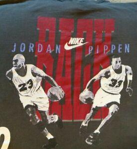 VTG 90s NIKE Michael Jordan Scottie Pippen BACK 2 BACK Double Sided TShirt Youth