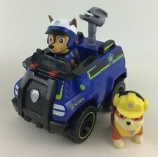 Paw Patrol Chase Police Cruiser Emergency Vehicle 3pc Lot with Rubble Figure Toy