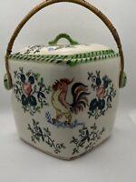 Vintage Ceramic Biscuit Cookie Jar Rosters Flowers GreenPinKYellow Bamboo Handle