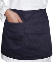 Black Short Waist Apron Bar Restaurant Waiters Waitress Staff (2 pockets)
