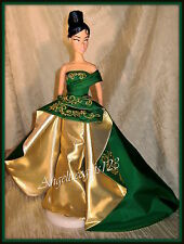 Complete green & gold evening gown fits silkstone royalty and Barbie