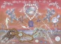 MERMAID ARTISTIC NUDE CUPID SWAN DOVE ROSE BOTANTICAL GARDEN FLOWER GEM PAINTING