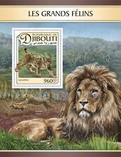 Yibuti 2017 estampillada sin montar o nunca montada Grandes Gatos lince ibérico 1 V S/S Leones Animales Salvajes sellos